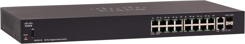 Cisco SG250-18 Smart Switch with 18 Gigabit Ethernet (GbE) Ports with 16 Gigabit Ethernet RJ45 Ports and 2 SFP Gigabit Ethernet Combo, Limited Lifetime Protection (SG250-18-K9-NA)