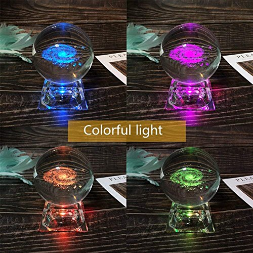 3D Crystal Ball for Kids with LED Crystal Lamp Base for Kids Gift, 80mm with 3D Laser Engraved (Planet Style)