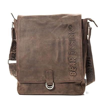 35656274a0b58 Bear-Design Ledertasche Umhängetasche Schultertasche Messenger bag aus  Büffelleder braun YN6848