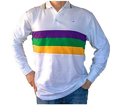 abde566b9 Poree s Embroidery Mardi Gras Long Sleeve White Polo Shirt (Woven Stripes)  (Small)