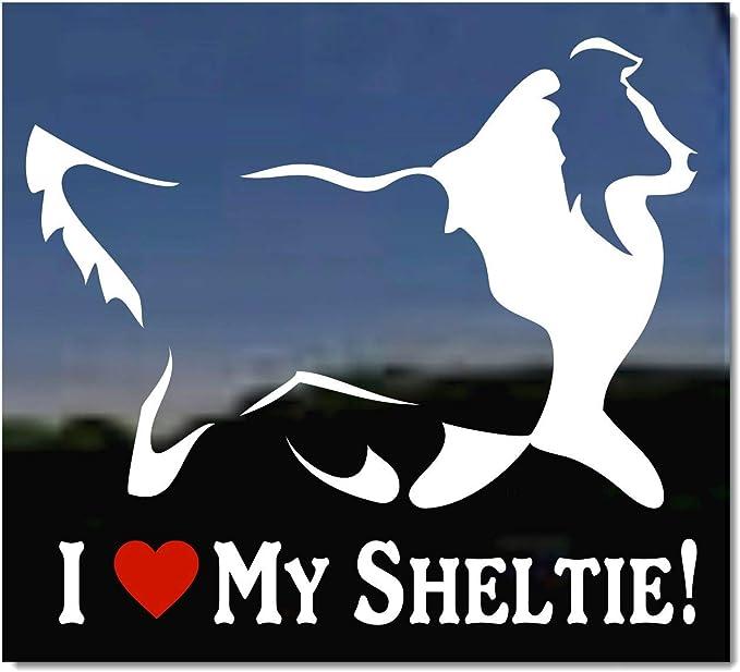 "Sheltie heartbeat lifeline *I249* 8/"" wide Sticker decal shetland sheepdog"