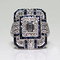 LALISA 925 Silver Art Deco Antique Jewelry Sapphire Wedding Promise Engagment Ring (8)