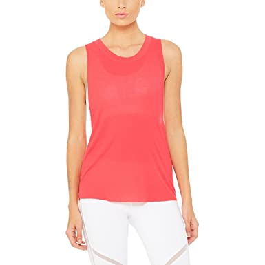 88e81c15647a0 Image Unavailable. Image not available for. Color  ALO Women s Heat-Wave  Tank Top Rich Peony ...