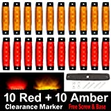 (Pack of 20) LEDVillage 10 pcs Amber + 10 pcs Red 3.8'' 6 LED Side Marker Lights, Trailer Marker Lights, Rear Side Marker Lamp, Led Marker Lights for Trucks, Cab Marker, RV Marker light