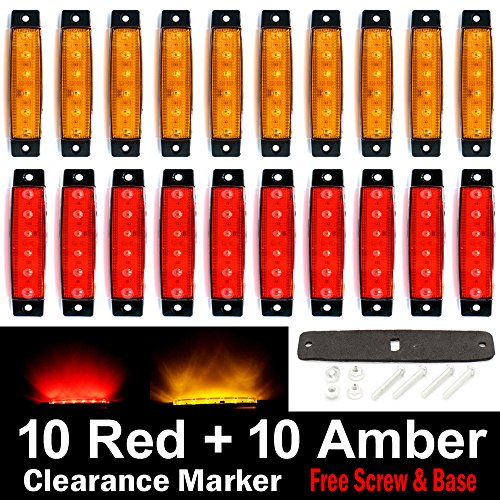 (Pack of 20) LEDVillage 10 pcs Amber + 10 pcs Red 3.8 6 LED Side Marker Lights, Trailer Marker Lights, Rear Side Marker Lamp, Led Marker Lights for Trucks, Cab Marker, RV Marker light