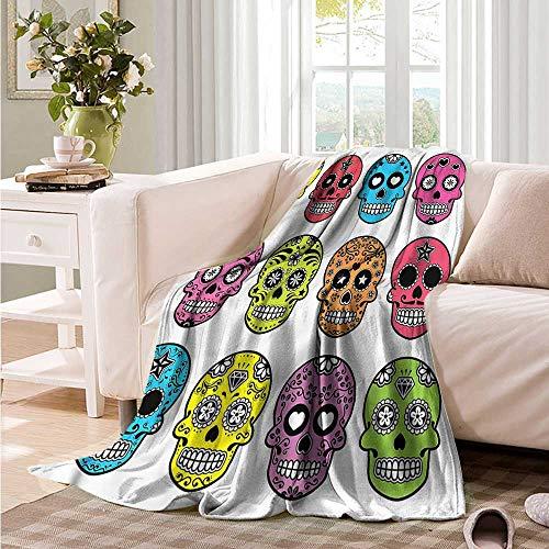 Oncegod Flannel Blanket Skull Mexican Halloween Tradition Sofa Warm Bed 84