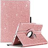 GUAGUA Galaxy Tab A 8.0 Case 2015 Glitter 360 Degree Rotating Smart Auto Wake/Sleep Stand Full Body Cover Stylus Holder Shockproof Protective Case for Samsung Galaxy Tab A 8.0(2015)/SM-T350 Rose Gold