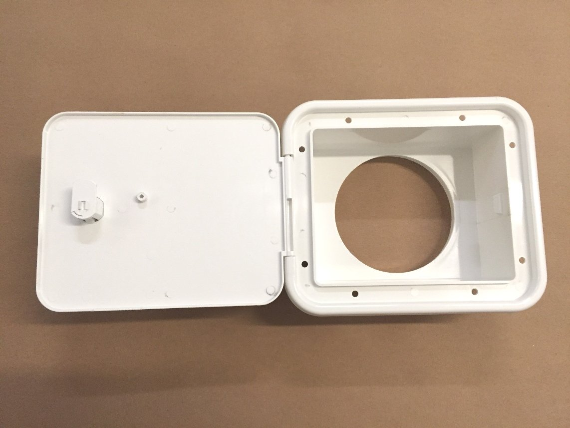 White Valterra RV Sewer Hose Compartment Door Assembly With Thumb Lock