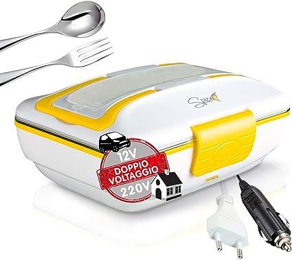 SPICE Amarillo Inoxidable Trio Plus Hornillo portátil Lunch Box Doble Voltaje Double Voltage 220 V – 12 V con Bandeja extraíble de Acero Inoxidable 40 ...