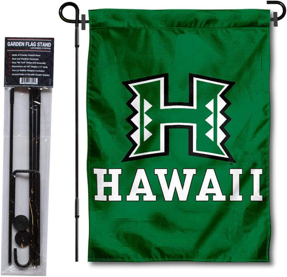 College Flags & Banners Co. University of Hawaii Garden Flag and Flag Stand Pole Holder Set