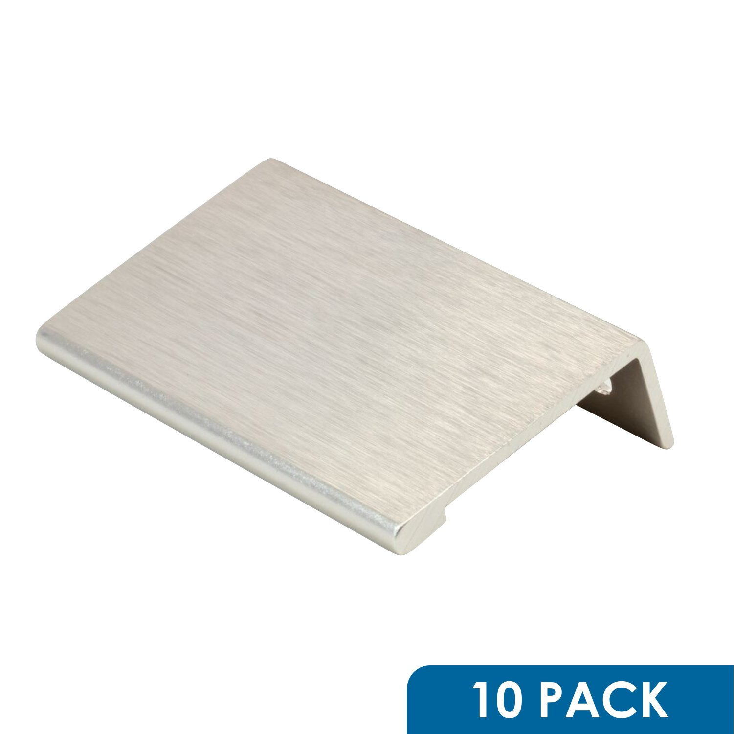 10 Pack Rok Hardware 1-31/32'' Hole Centers Modern Style Finger Edge Pull Aluminum Metal Brushed Stainless Steel Finish Home Kitchen Door Drawer Cabinet 2-3/4'' Length Handle P898950SS