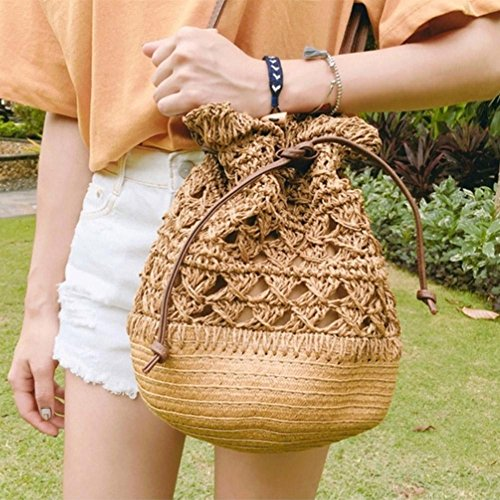 Crossbody Brown Drawstring Everpert Handbag Light Straw Bag Bucket Crochet Beach Shoulder Women OPwEqCF