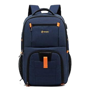 XMYL Simple Color Sólido Mochila Nylon Ocio Estudiante Mochila Escolar Bolsa De Ordenador Portátil 32 * 24 * 52 cm,Blue: Amazon.es: Deportes y aire libre