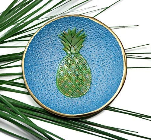 (Pineapple Ring Dish- Handmade Jewelry Holder Trinket Dish- Polymer Clay Dish Jewelry storage Gifts for Her)