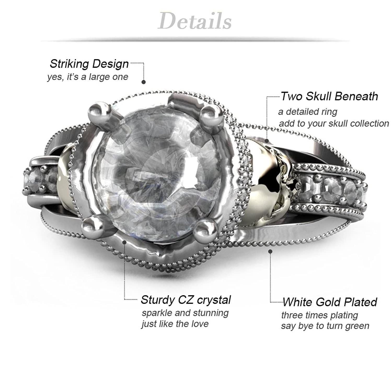 Amazon: Cz Skull Engagement Ring For Women Gothic Aphrodite Simulated Diamond  Ring: Jewelry