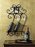 Cheap GHP 16-1/2″x 4-1/4″x27-3/4″ Home Decor Bar Scrollwork Wall Mounted Wine Bottle Holder Rack w Photo Frame
