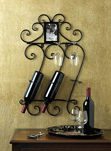 WINE WALL SCROLLWORK MOUNTED RACK AND PHOTO FRAME DECOR ~10015695_#primo_bella_cosa