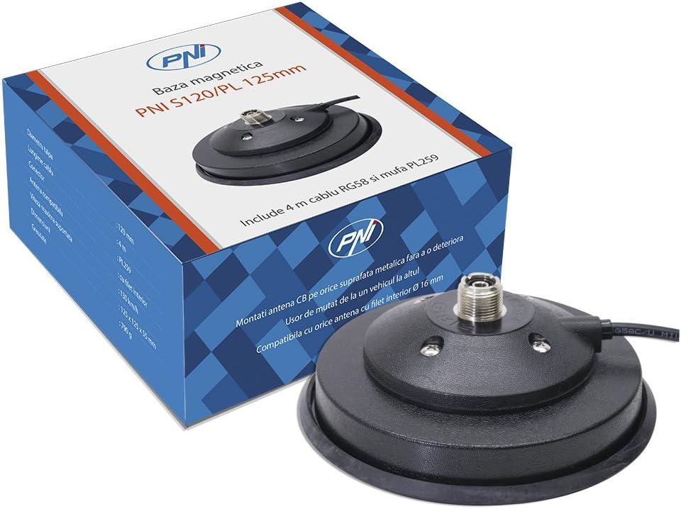 Base magnética para Antenas CB PNI S120 / PL 125mm PL259 Conector y 4m RG58 Cable Incluido
