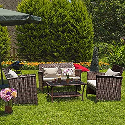 Tangkula 4 pcs Wicker Furniture Set Outdoor Patio Furniture Rattan Wicker Sofas Garden Lawn Poolside Cushioned Seat Conversation Set with Removable Cushions & Coffee Table Patio Furniture (Brown 003)