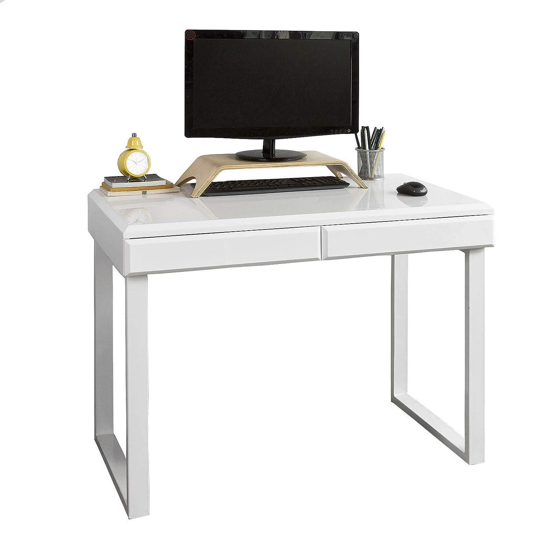 SoBuy® Scrivania, Porta PC, Tavolo per Computer, con Due cassetti, Bianco, FWT27-W, IT