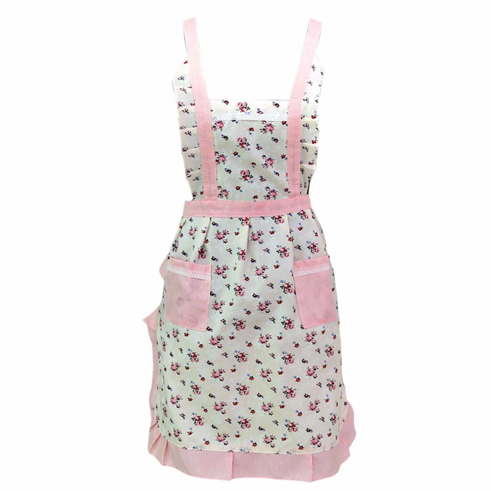Women Kitchen Apron Small Floral Printing Adjustable Height Splashproof Kitchen Aprons with 2 Pockets for Cooking Grill and Baking (Multicolor)