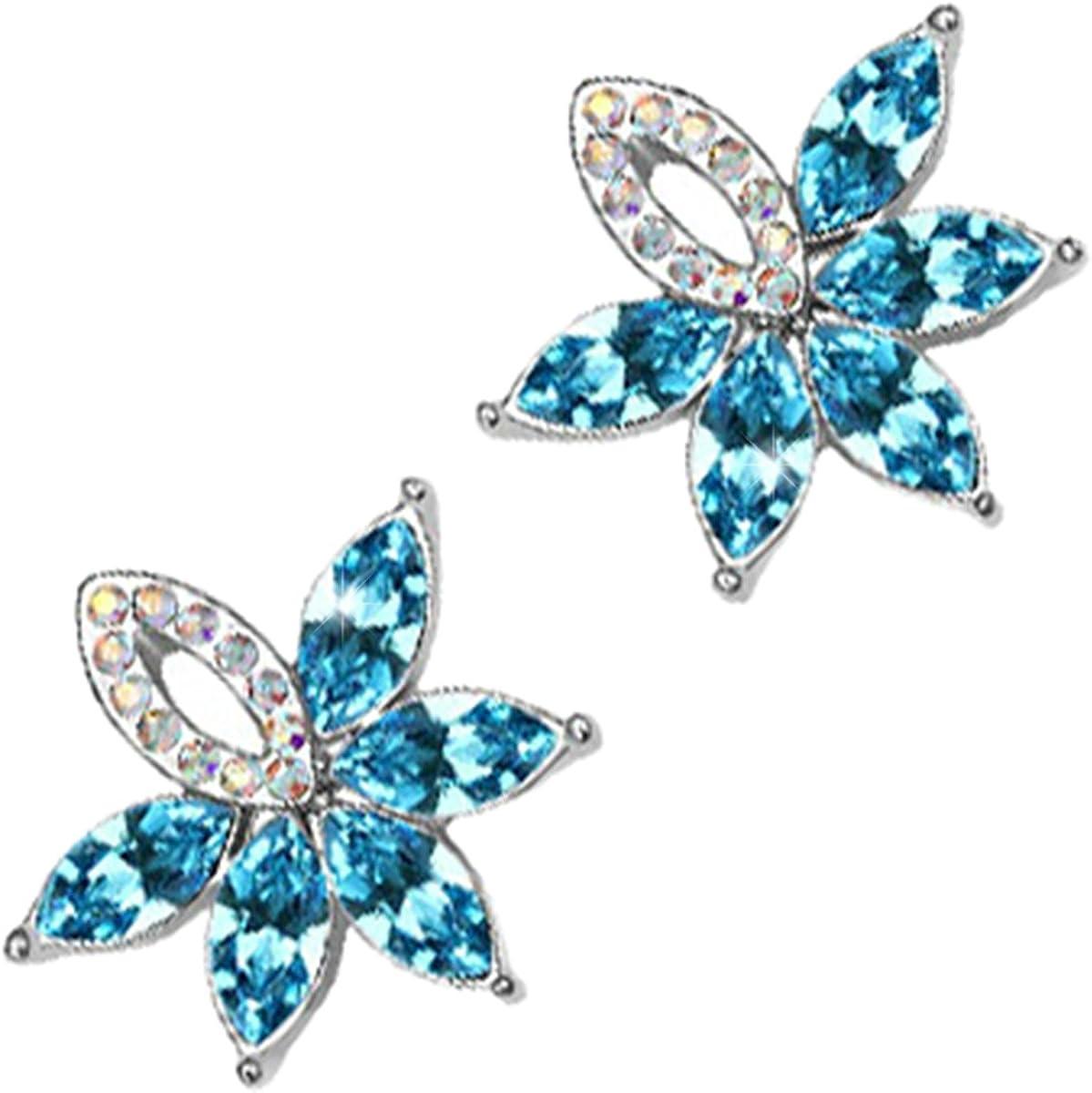 GWG Jewellery Pendientes Mujer Regalo Pendientes, Chapados en Plata de Ley de 5 Cristales Ovalados de Colores Varios de Diseño Floral a Fiesta para Mujeres