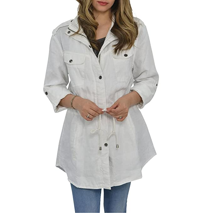 Amazon.com: My Anorak - Chaqueta de lino, color blanco: Clothing