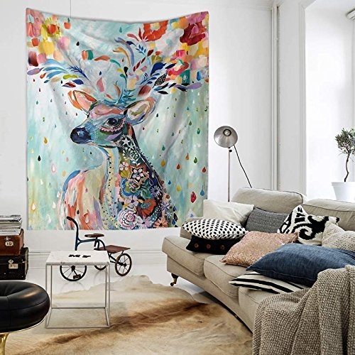 Tapestry Wall Hanging Watercolor Mule Deer Multicolor Floral Hippie Beach India Art Cool Bohemian Blanket Twin Size - Water Wall Tapestry