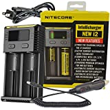 NiteCore New 2016 Version i2 Intellicharger Smart Battery Charger with Car Charger for Li-ion / IMR / Ni-MH/ Ni-Cd, Black