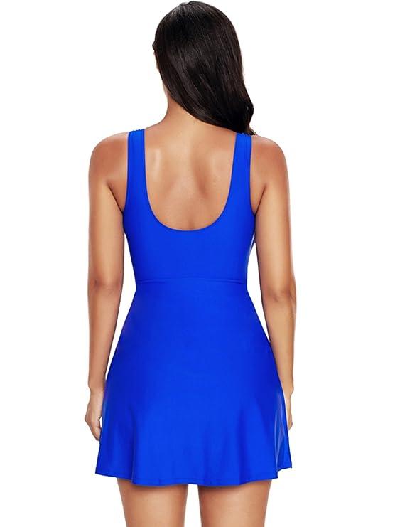 6fd61628676bf Zando Women Plus Size Modest Swimsuit One Piece Swim Dress Cover up Tummy  Control Swimwear Slimming Beach Swimdress at Amazon Women s Clothing store