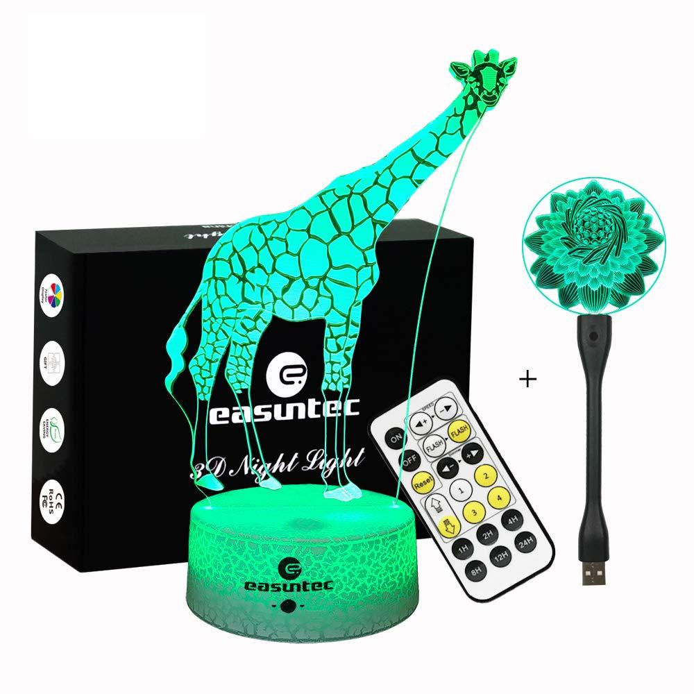 Easuntec Night Lights for Kids,Baby Night Light Giraffe + Flexible USB Light Flower (2 Pack),Adjustable 7 Colors with Timer Remote Control,Birthday Gift Idea for Kids (Giraffe+Flower)