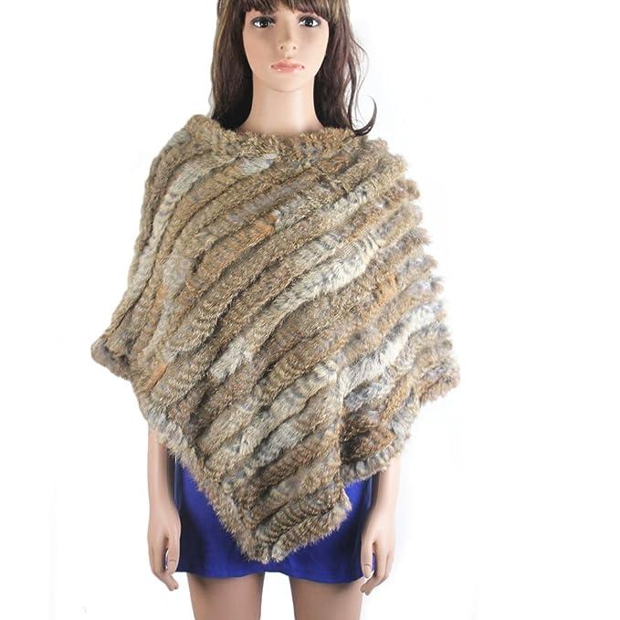 Peletería real de conejo para tejer cape-poncho robados natural talla única: Amazon.es: Ropa y accesorios
