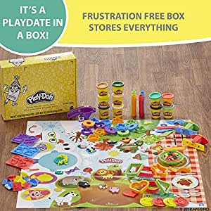 Play-Doh - Play Date Party Crate - Inc 40 Acc & 10 Tubs of Dough - Creative Kids Toys - Ages 3+