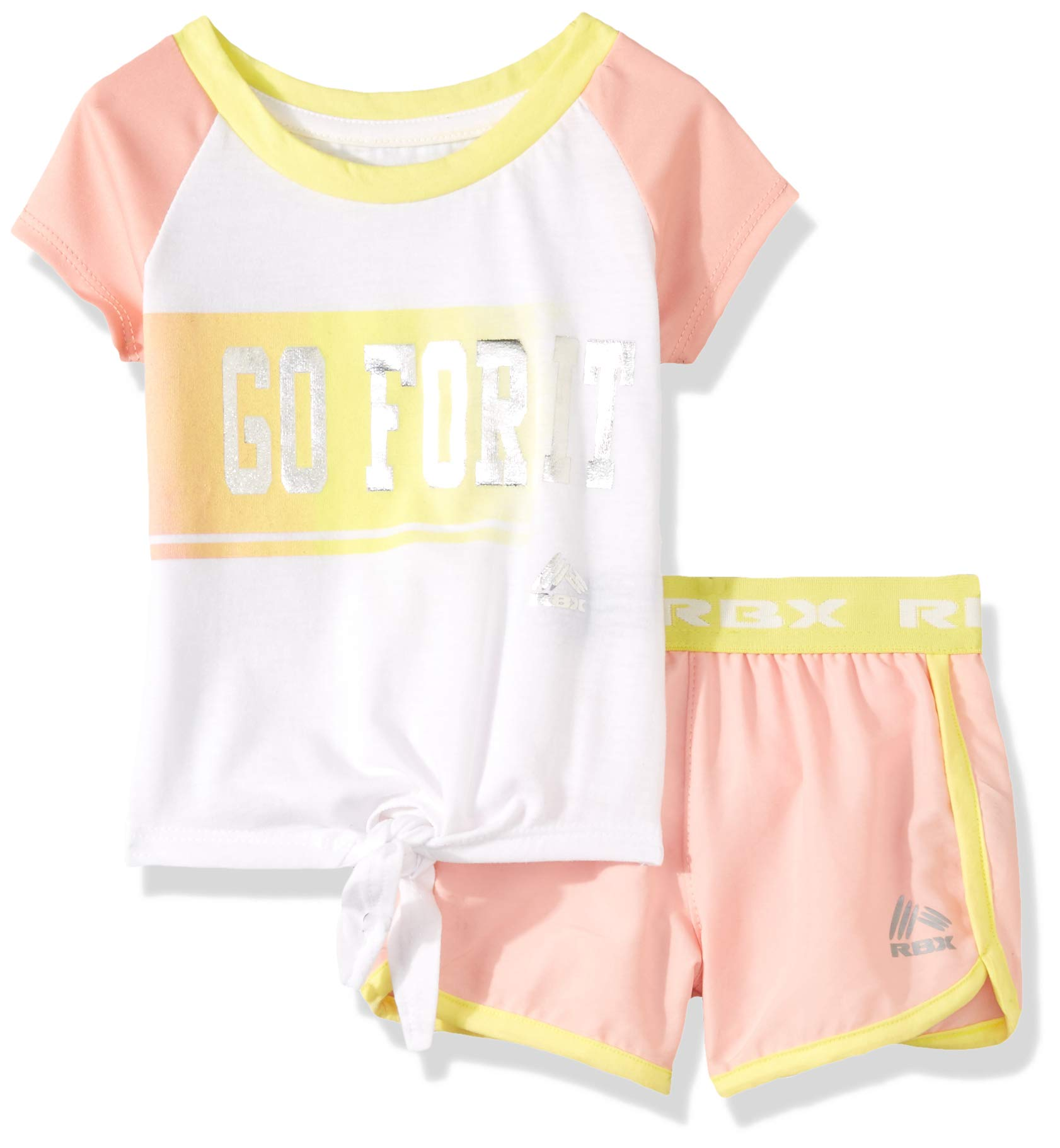 RBX Girls' Big' Active Top and Short Set, Go for It Pink, 7/8 by RBX (Image #1)