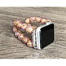 Murano Glass Stones Bracelet For Apple Watch Series 1 2 & 3 (38mm) Handmade Tropical Coral Color Venice Glass Rose Design Beads Apple Watch Band Luxury Jewelry Adjustable 8 inches Size Wristband
