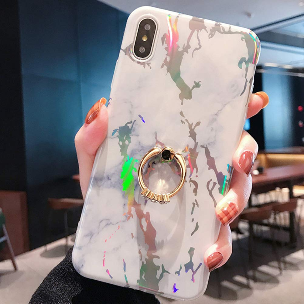 Marble Case for iPhone XS/X Cover,Girls and Women Diamond Ring Stand Bling Sparkle Laser Aurora Color Marble Design Flexible Soft Rubber Gel TPU Case Cover for iPhone XS/X Silicone Case,White by ikasus