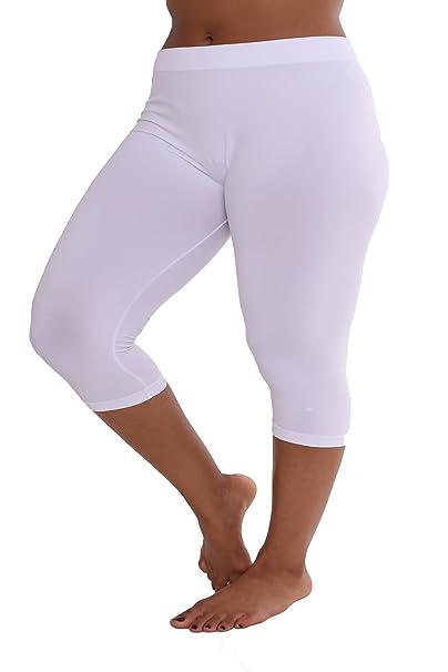 7d90a4e4c9cc75 TD Collections Plus Size Cotton Capri Leggings for Women - 3/4 Length  Smooth Stretchy Short Pants ...