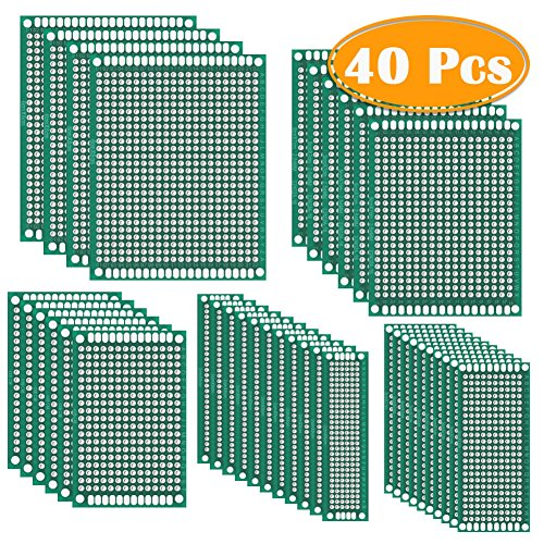 (Paxcoo 40Pcs Double Sided PCB Board Prototype Kit for DIY Soldering and Electronic DIY Projects, 5 Sizes)