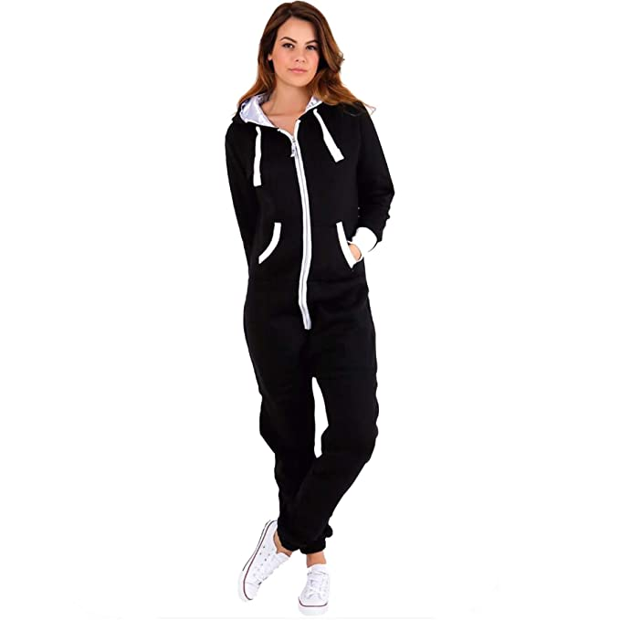 0f9d464c923 XPACCESSORIES Womens Ladies Adult Plain Hooded Zip Up Fleece Onesie All in One  Playsuit Jumpsuit UK Plus Size  Amazon.co.uk  Clothing