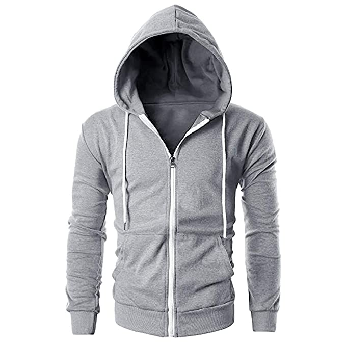 Amazon.com: Sunhusing Mens Slim Fit Zipper Closure Drawstring Hoodie Solid Color Jacket Outwear with Pocket: Clothing