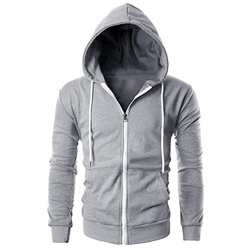 Amazon.com: iLXHD Zip Casual Long Sleeve Slim Pocket Fit Hoodies Jacket Coat: Clothing