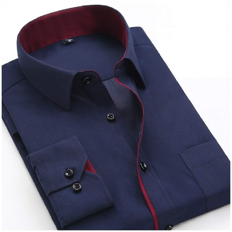 CrazyDayMen Plus-Size Pure Color Slim Fit Long-Sleeve Business T-Shirts Shirt