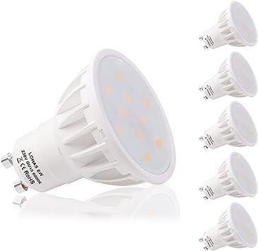 LOHAS® Bombilla LED 6W GU10, Igual a Bombilla Halógena de 50W, 6000K, Blanco Diurno,500lm, Paquete de 5 Unidades: Amazon.es: Iluminación