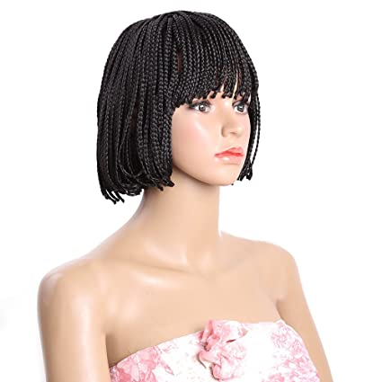 Amazon.com : 10 Inches Bob Short Wigs, 4#1 Two Colors Optional European Black African 3 Strands Braid Bangs Heat-resistant Wig, #1 : Beauty