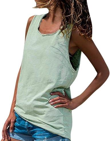 VJGOAL Mujer Verano Moda Casual Color sólido Cuello Redondo Top sin Mangas Sexy cómodo Tops Sueltos Blusa Camiseta: Amazon.es: Ropa y accesorios