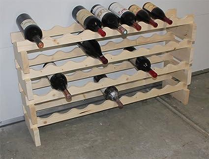 DisplayGifts MAGNUM Bottle Stackable Modular Wine Rack Storage Stand Wooden Holder  Shelves, WN50 (Natural