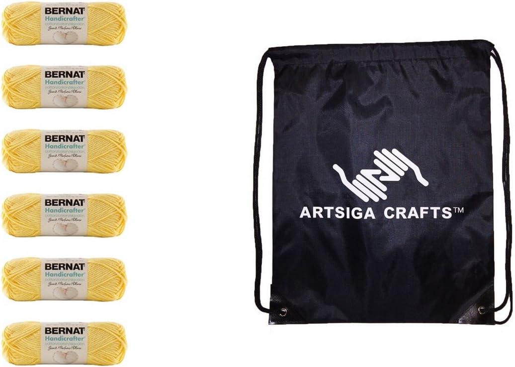 Bernat Knitting Yarn Handicrafter Cotton Scents Vanilla Bouquet 6-Skein (Same Dyelot) 162105-5003 Bundle with 1 Artsiga Crafts Project Bag
