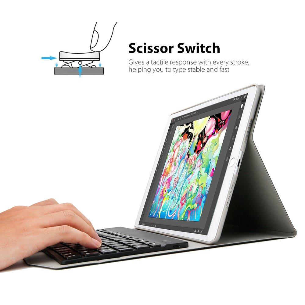 iPad Mini 4 Keyboard Case Black iEGrow F1 Ultra Slim Clamshell Lightweight Keyboard Case for iPad Mini 4 Model A1538//A1550