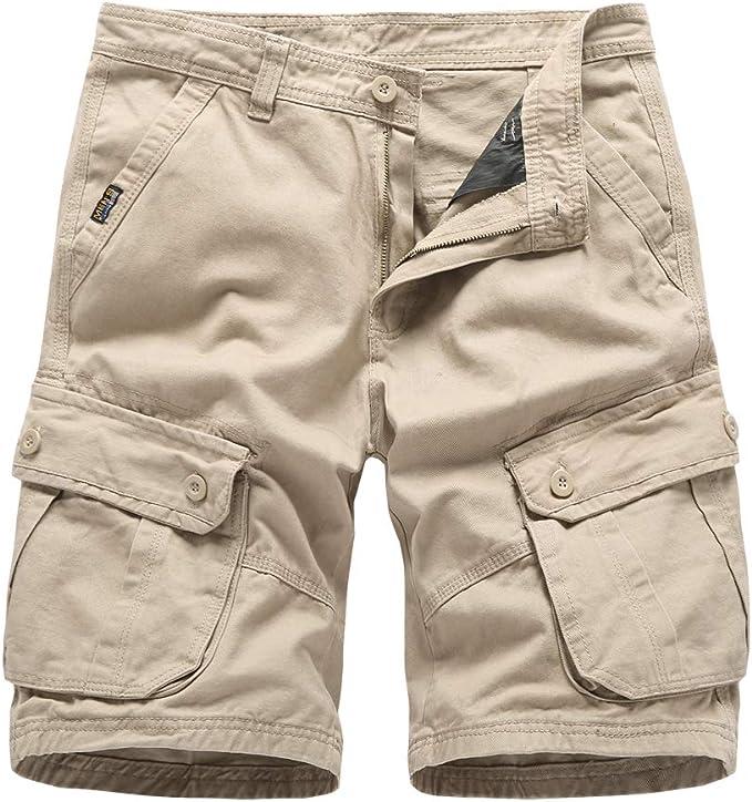 BMEIG Pantalones Cortos de Carga para Hombre Algodón Casual Verano ...