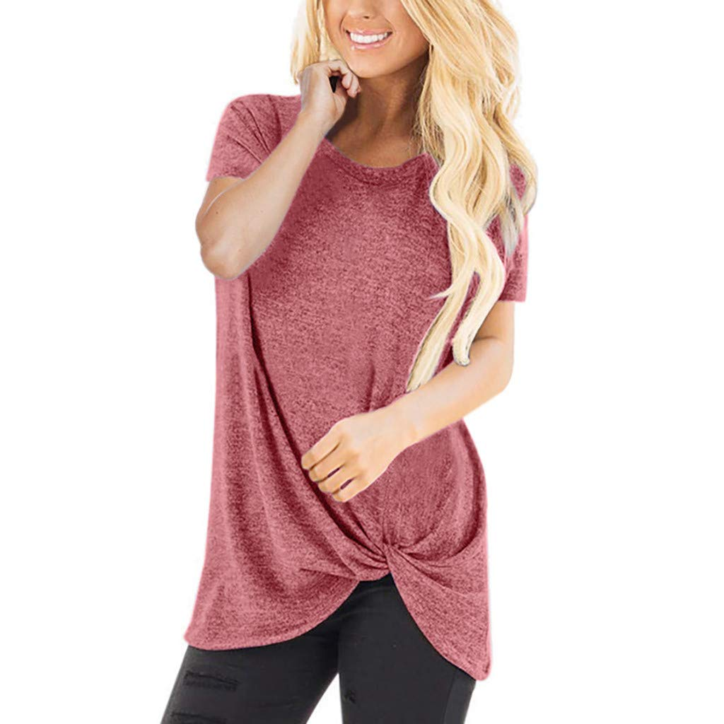 Amlaiworld Women Casual Tee Tops Solid Short Sleeve O Neck Blouse Twist Knotted Tops T- Shirt Tunic Shirt